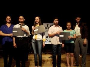 Professora Mariolani, Ricardo,  Jussara, Elieser e Eliane juntamente com a diretora do Departamento de Cultura, Soraia Quintana