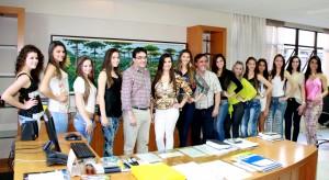 As 13 candidatas ao Miss Beltrão foram recebidas no gabinete da Prefeitura