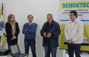 Jovelina Chaves, Jairo Niehues, João Machado e o prefeito Cantelmo Neto na transmissão de cargo do Conselho do Trabalho