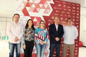 Fabio Almeida (Sebrae), Silvana Gomes (CIT-FBE), Izete Passaia (Semdetec), Gervásio Kramer (Tecxel) e Marcos Guerra (Acefb) no lançamento da Arenatech 2016